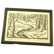 "SOLD Charles Surendorf ""Mother Lode Snow""  wood block print"