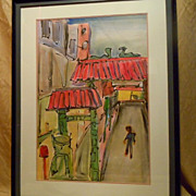 REDUCED Chinatown Grant St watercolor painting by Mark Luca CA artist
