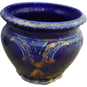Victorian blue & gold jardiniere large