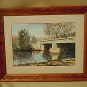 Landscape of bridge by watercolor artist Edward Slade  Wisconsin