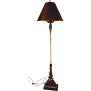 Art deco marble & wrought iron floor lamp