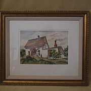 Wm Cameron watercolor Old Farmhouse mendocino California