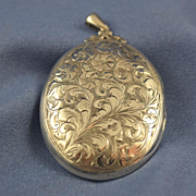 SALE Sterling silver large locket Art Nouveau style