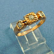Victorian rose gold anniversary diamond ring 14k