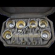 Boxed set of six Salt cellars & salt spoons sterling Webster Co.