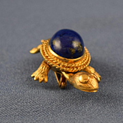 SOLD Lapis cabochon turtle  movable 14k gold