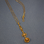 Edwardian diamond triple drop lavalier 10k gold & chain
