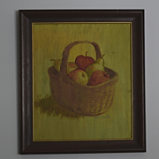 Still life basket of fruit signed painting