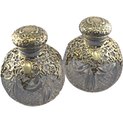 Pair of sterling & crystal English perfume bottles