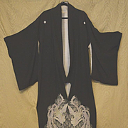 Japanese Kimono black silk crane design 19th century