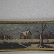Folk art Farm in Winter oil painting