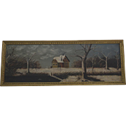 Folk art Farm in Winter oil painting