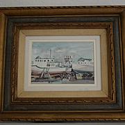 Oakland California estuary two ships watercolor by W. R. Cameron
