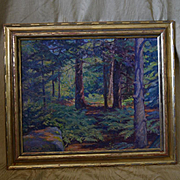 Maine wood interior landscape oil painting by Theodore Dillaway
