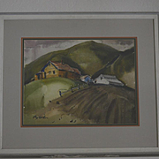 Marin county California farm watercolor by Ray Wilson