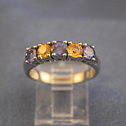 Tanzanite & yellow diamonds white gold ring 18K gold