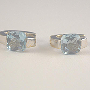 Aquamarine white gold pierced 14k gold earrings Italy