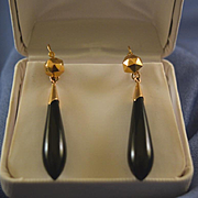Victorian pendulum onyx & gold earrings