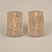 Three leaf clover engraved 10k gold pierced earrings