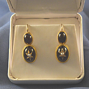 Victorian cabochon 14k gold shepherd's hook earrings