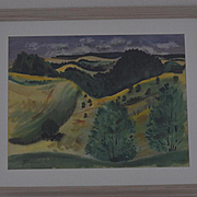 Watercolor by Jason Schoener California hills