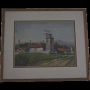 Watercolor California farm scene & railroad yard by Ray Wilson