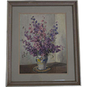 Study of Clarkia in vase  watercolor English artist Andrews