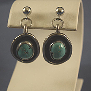 Navajo signed turquoise pierced sterling earrings