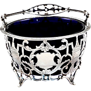 Antique Sterling Silver Basket with Blue Glass Liner - Goldsmiths & Silversmiths London ..