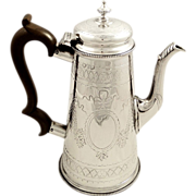 Antique Victorian Sterling Silver Coffee Pot - 1874