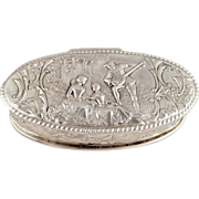 SOLD Antique Victorian Sterling Silver Oval Trinket Box - 1899 - Musical Scene