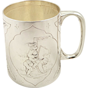 Antique Victorian Sterling Silver Christening Mug/Tankard - 1883 - Banbury Nursery Rhyme