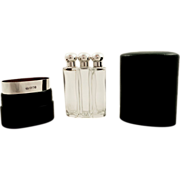 SOLD Set 3 Antique Edwardian Sterling Silver & Glass Perfume Bottles in Travel Case 1903