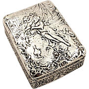 SOLD Antique Victorian Sterling Silver Trinket Box - 1895 -  Classical Scenes