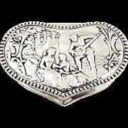 SOLD Antique Sterling Silver Heart Shape Trinket Box - 1901 - Serenading Scene