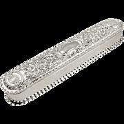 "Antique Victorian Sterling Silver 7"" Trinket Box 1896"