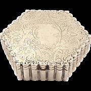 Antique Hexagon Shaped German Silver Trinket Box - c1880