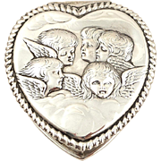 SOLD Antique Victorian Sterling Silver 'Angels' Heart Trinket Box 1897