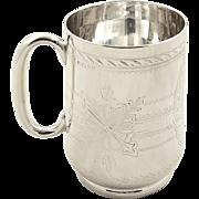 Antique Victorian Sterling Silver Christening Mug / Tankard 1876