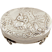 SOLD Antique Edwardian Sterling Silver Trinket Box with Country Scene 1905