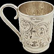 Antique Victorian Sterling Silver Mug / Tankard - 1900 - Christening Present
