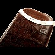 SOLD Antique Victorian Genuine Crocodile Leather & Sterling Silver Cigar Case 1883