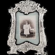 """Antique Art Nouveau Sterling Silver 13"""" Photo Frame 1910"""