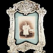 "Huge Antique Art Nouveau Sterling Silver 13"" Photo Frame 1910"