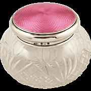 Antique Sterling Silver & Pink Enamel Vanity Jar 1930