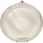 """Antique Victorian Sterling Silver 8"""" Tray / Salver 1885"""