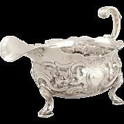 Antique George ll Sterling Silver Sauce Boat / Jug 1747 - Birds