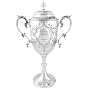 """Antique Solid Sterling Silver 12"""" Cup/Trophy 1907 - G.Co 2nd Vol.Battn PASLI"""