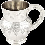 Unusual Antique Victorian Sterling Silver Pint Mug / Tankard 1872