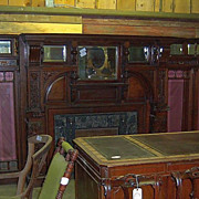 Cherry Fireplace Mantle with Bookcases, Adams Bros. Style Carvings
